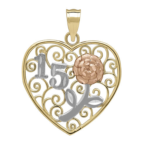 Tesoro™ 14K Tri-Color 15 Quinceanera Flower Filigree Heart Pendant