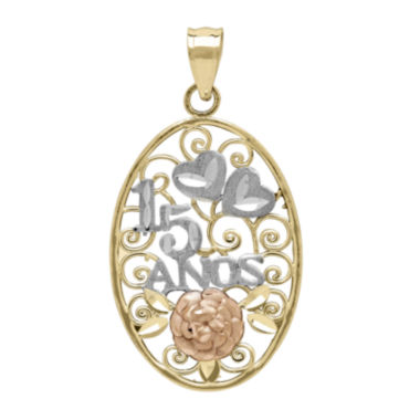 jcpenney.com | Tesoro™ 14K Tri-Color 15 Anos Quinceanera Flower and Hearts Filigree Pendant