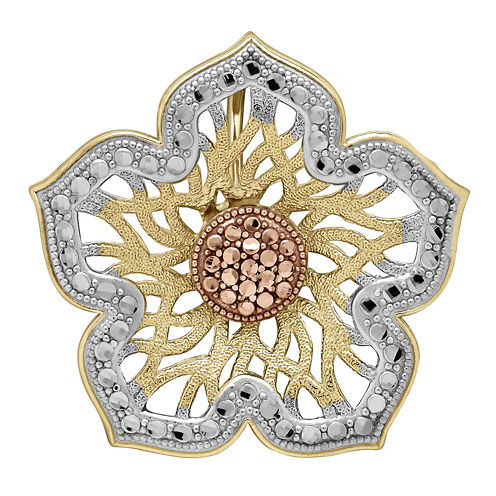 Tesoro™ 14K Tri-Color Gold Filigree Flower Pendant