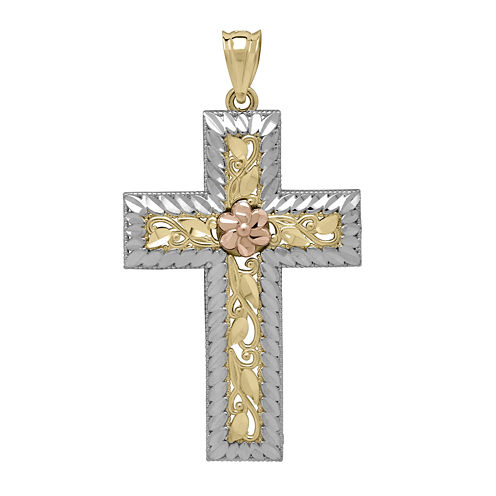 Tesoro™ 14K Tri-Color Gold Diamond-Cut Cross Pendant
