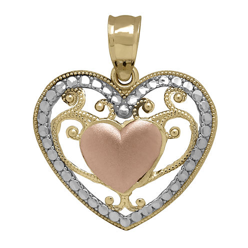Tesoro™ 14K Tri-Color Puff Filigree Heart Pendant