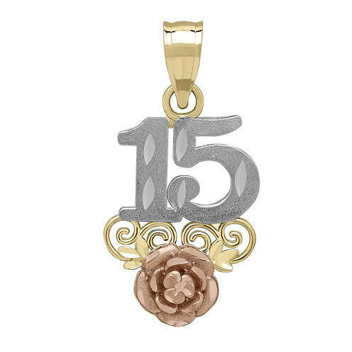 "Tesoro™ 14Tesoro™ 14K Tri-Color ""15"" Quinceanera Pendant"
