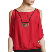 by&by 3/4-Sleeve Bubble-Hem Cold-Shoulder Necklace Top