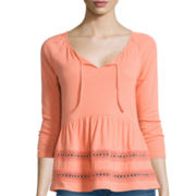 Arizona 3/4-Sleeve Crochet Knit Peasant Top - Juniors