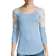 Arizona 3/4-Sleeve Lace Shoulder Tunic  - Juniors