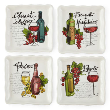 jcpenney.com | JCPenney Home™ Wine Cellar Set of 4 Square Appetizer Plates