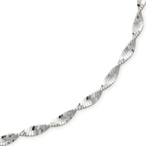 "Made in Italy 18"" Pave Twist Herringbone Sterling Silver"