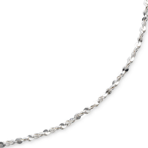 """Made in Italy Sterling 18"""" 1mm Twisted Serpentine Chain"""