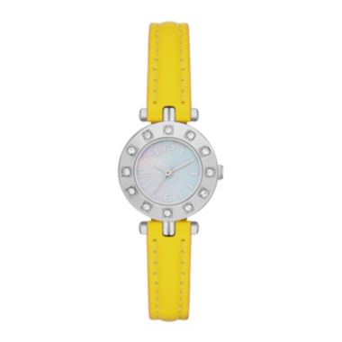 jcpenney.com | Womens Crystal-Accent Bezel Faux Leather Strap Watch