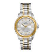 Bulova Mens Patterned Dial Two-Tone Bracelet Watch