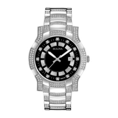 jcpenney.com | Bulova® Mens Crystal-Accent Stainless Steel Watch 96B176