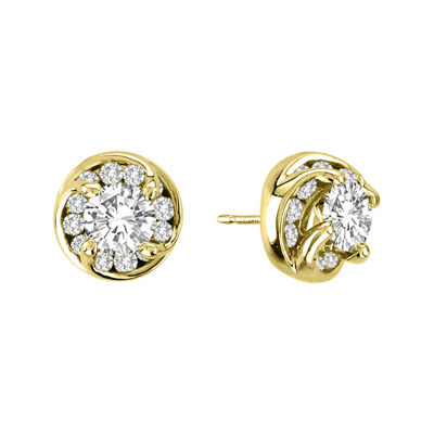 ct cluster gold stud womens yellow earrings flower diamond