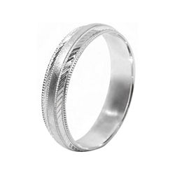 BEST VALUE! Mens 10K White Gold 5mm Engraved Wedding Band