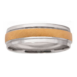 BEST VALUE! Mens 10K Two-Tone Gold 6mm Wedding Band