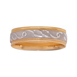 BEST VALUE! Mens 10K Two-Tone Gold 6mm Engraved Wedding Band