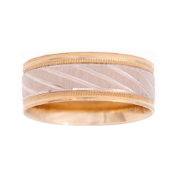 BEST VALUE! Mens 10K Two-Tone Gold 8mm Engraved Wedding Band