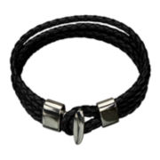 Inox® Jewelry Mens Stainless Steel & Blue Leather Cable Braided Bracelet