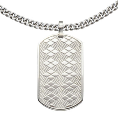 jcpenney.com | Inox® Jewelry Mens Stainless Steel Basket-Weave Dog Tag Pendant Necklace
