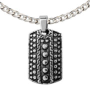 Textured Stainless Steel Dog Tag Pendant Necklace