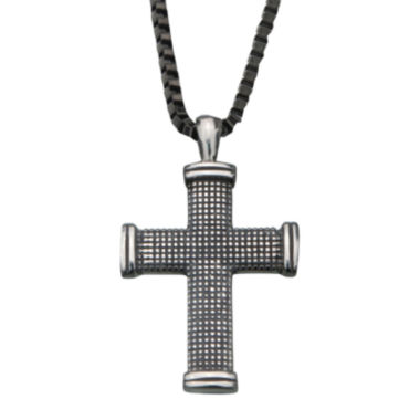 jcpenney.com | Inox® Jewelry Mens Textured Stainless Steel Cross Pendant Necklace