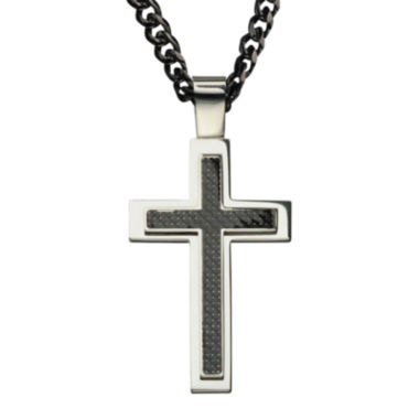 jcpenney.com | Inox® Jewelry Mens Two-Tone Stainless Steel Cross Pendant Necklace