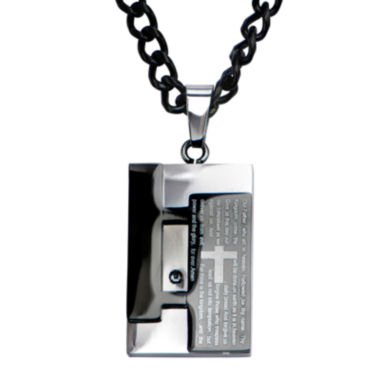 jcpenney.com | Inox® Jewelry Mens Two-Tone Stainless Steel Lord's Prayer Pendant Necklace
