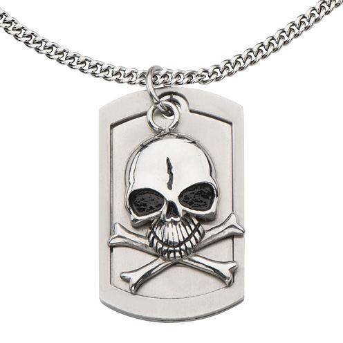 Mens Stainless Steel Alien Skull Pendant Necklace