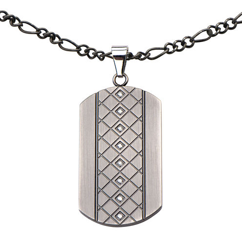 Mens Cubic Zirconia Stainless Steel Dog Tag Pendant Necklace