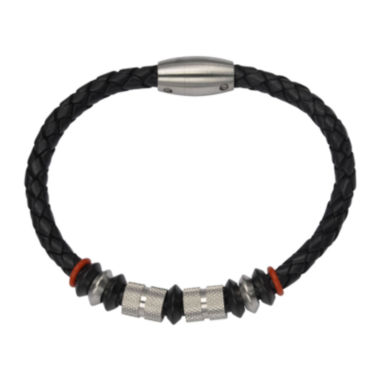 jcpenney.com | Inox® Jewelry Mens Stainless Steel Bead & Black Leather Bracelet