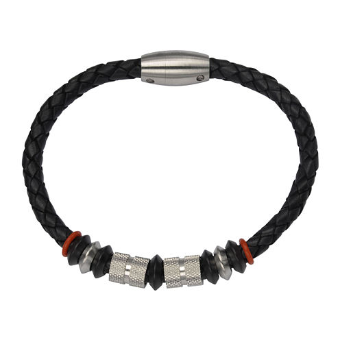 Inox® Jewelry Mens Stainless Steel Bead & Black Leather Bracelet