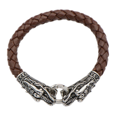 jcpenney.com | Inox® Jewelry Mens Stainless Steel & Brown Leather Dragon Head Bracelet