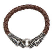 Inox® Jewelry Mens Stainless Steel & Brown Leather Dragon Head Bracelet