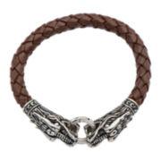 Inox® Jewelry Mens Stainless Steel & Brown Leather Dragon Head Bracelet