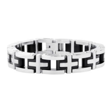 jcpenney.com | Inox® Jewelry Mens Two-Tone Stainless Steel Cross Link Bracelet