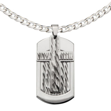 jcpenney.com | Inox® Jewelry Mens Stainless Steel Cross Dog Tag Pendant Necklace
