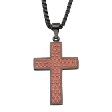 jcpenney.com | Stainless Steel Honeycomb Cross Pendant Necklace