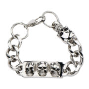 Inox® Jewelry Mens Stainless Steel Curb Link & Skull Bracelet