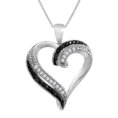jcpenney.com | 1/10 CT. T.W. White & Color-Enhanced Black Diamond Heart Pendant Necklace
