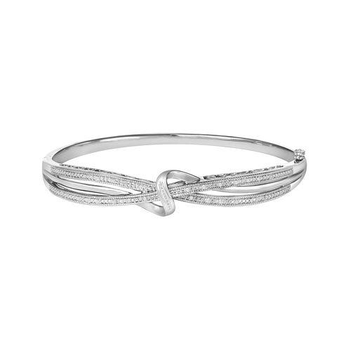 1/10 CT. T.W. Diamond Crossover Bangle Bracelet