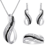 1/10 CT. T.W. White & Color-Enhanced Black Diamond 3-pc. Jewelry Set