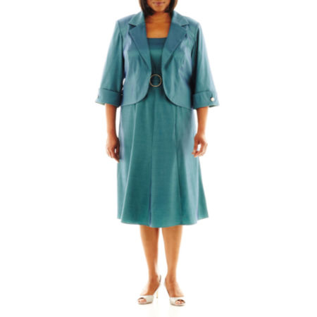 Dana Kay A-Line Taffeta Dress with Jacket - Plus