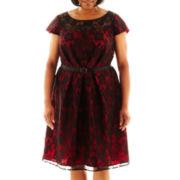 Dana Kay Belted Lace Dress - Plus