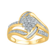 1/2 CT. T.W. Diamond Cluster 14K Yellow Gold Over Sterling Silver Ring