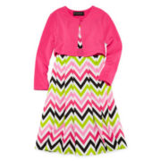 Disorderly Kids® 2Pc Chevron Dress with Cardigan