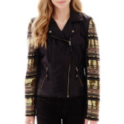 XOXO® Long-Sleeve Beaded Faux-Leather Jacket