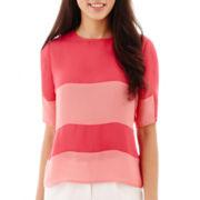 Worthington® Short-Sleeve Colorblock Blouse - Petite