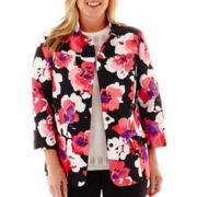 Alfred Dunner® Play On Color 3/4-Sleeve Floral Print Jacket - Plus