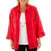 Alfred Dunner® Play On Color 3/4-Sleeve Burnout Floral Layered Top - Plus