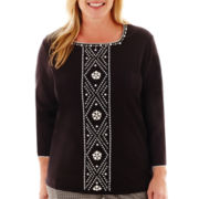 Alfred Dunner® Play On Color 3/4-Sleeve Beaded-Center Knit Top - Plus
