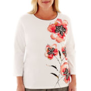 Alfred Dunner® Play On Color 3/4-Sleeve Floral Appliqué Knit Top - Plus